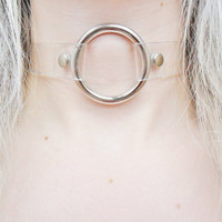 PVC Transparent O Ring Clear See Through Kawaii Silver Plated Pendant Necklace Choker Jewellery Jewelry