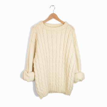 Vintage Handknit Fisherman Sweater in Cream Ivory - men's l/xl