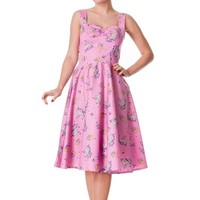 Hell Bunny Mystical 50's Pink Rockabilly Cupcake and Unicorn Print Party Dress