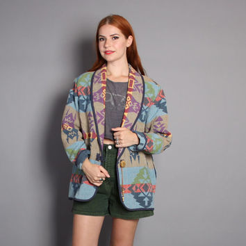 90s SW Print BLANKET COAT / Native Inspired Fall Jacket, s-m