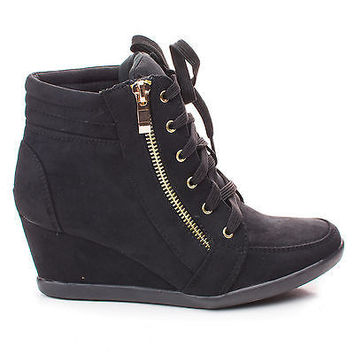 Peggy56 Black By Forever, Zipper Round Toe Lace Up Ankle Wedge Bootie