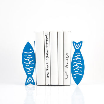 Bookends -Fish- FREE SHIPPING Light Blue bookends functional decor for your kitchen library