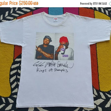 25% March Sale Authentic SUPREME Three Six Mafia Tee BOX LOGO Og Nyc L/M White T Shirt Size L Rare Usa