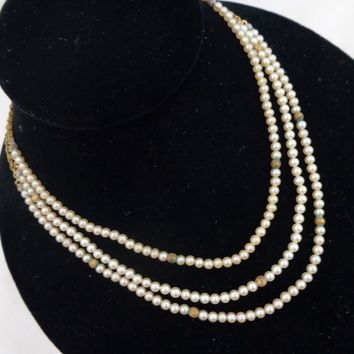 Vintage MIRIAM HASKELL Petite Three Strand Faux Pearls Necklace TLC