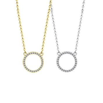 2018 Fashion Jewelry Simple Circles Necklace CZ Crystal Zircon Paved Gold Silver Color Round Pendants Necklaces For Woman Bijoux