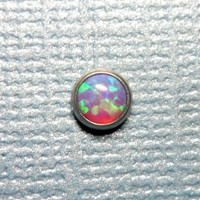 Fire Lilac Purple Opal in Steel Microdermal Jewelry Top - 5mm