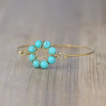 Daisy Turquoise personalized Copper bangle bracelet Bridesmaids gifts Free US Shipping handmade Anni Designs