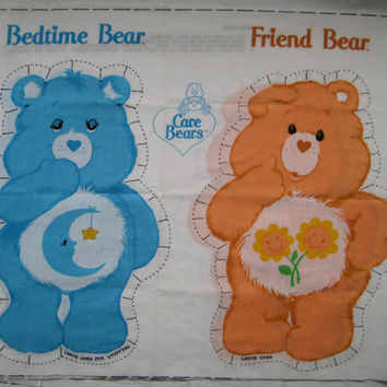 Vintage 1983 Care Bears Bedtime Bear Friend Bear Spring Mills Pillow Doll Fabric Panel American Greetings Kid Girl Child Bedding Craft