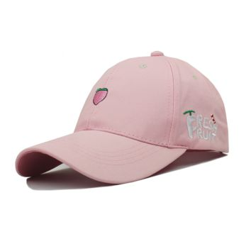 Pink Fresh Fruit Embroidered Baseball cotton cap Hat