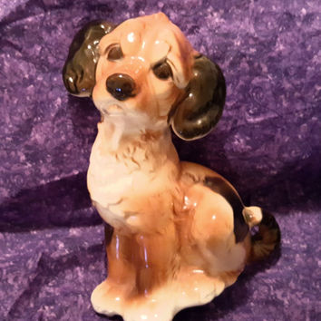 Adorable  Vintage Royal Copley Dog Ceramic Figurine From the 1950's, Mid Century Figural Dog. Mid Century Dog Figurine