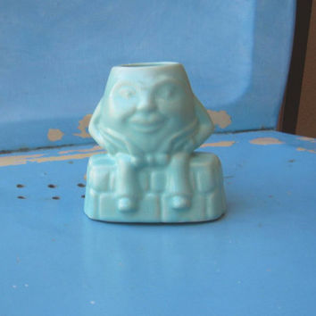 Vintage McCoy Humpty Dumpty Planter - Sea Green/Aqua Humpty Ceramic Planter - Figural Character Planter - Vintage Nursery Decor