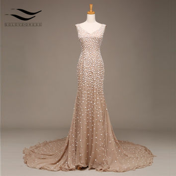 Real Sample Our 100 % As Picture Luxury Mermaid Long champagne evening dress gowns Beading Crystal Prom dresses