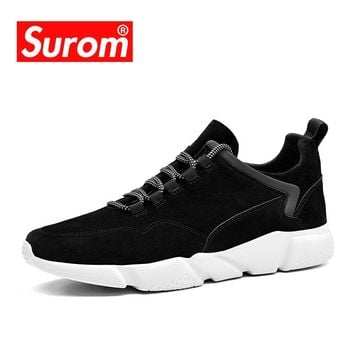 SUROM Men's Casual Shoes Breathable Men Shoes Lightweight Sneakers Brand Lace up Designer Flats Krasovki