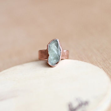 Raw Aquamarine Ring Rough Aquamarine Ring Blue Gemstone Ring Rough Stone Raw Stone Ring Raw Crystal Ring Mineral Ring Copper Ring Size 8