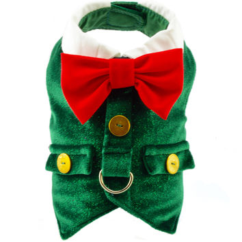 Green Velvet Dog Holiday Harness Vest