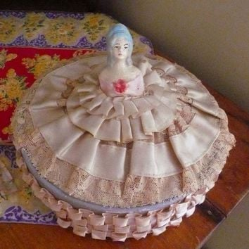 Vintage Half Doll Candy Box Lace Chalkware Aqua Blue Victorian Valentine