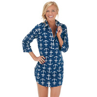 Kelli Shirtdress Cover-Up/Tunic/Dress- NAVY ANCHORS