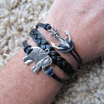Anchor and Lucky Elephant Karma Black Friendship Charm Bracelet - Made in the USA