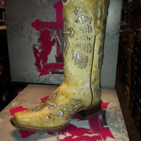 Rustic Look Cowboy Boot with Silver Wings and Cross