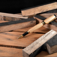 Jack Daniel's - Reclaimed Whiskey Barrel Wood Rollerball Pen - Tiger Oak with 24kt Gold Plating