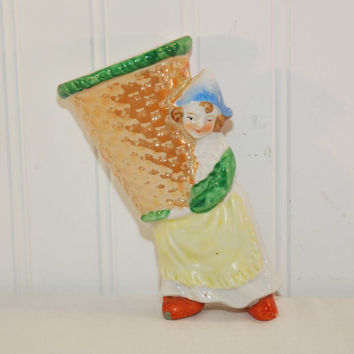 Vintage Dutch Girl Wall Pocket (c. 1940's-1950's) Made In Japan, Tan Lustre, Vintage Japan Ceramic, Collectible, Home Decor, Lustre Glaze
