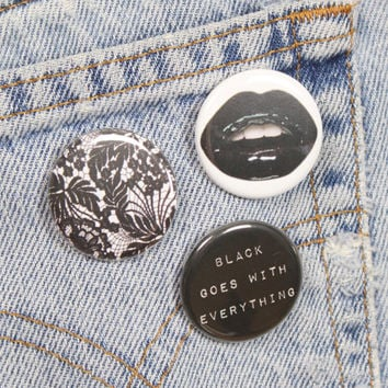Black Lace 1.25 Inch Pin Back Button Badge