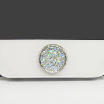 BEST SELLER 1PC Paved Opal Like Crystal Circle Alloy Circle Jewel iPhone Home Button Sticker Charm for iPhone 4,4s,4g,5,5c Cell Phone Charm