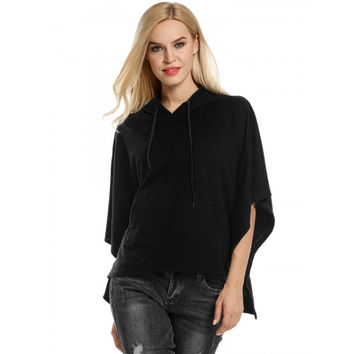 Women Hooded Pullover Casual Batwing Poncho Cape Hoodie Sweatshirt