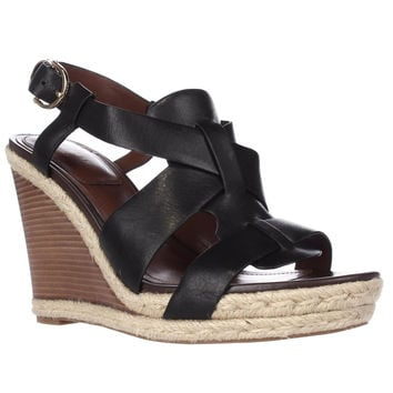 Cole Haan Breecey Wedge T-Strap Wedge Sandals, Black, 11 US