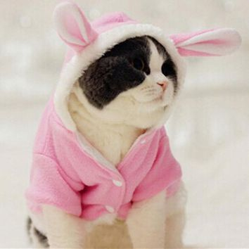 Warm Cat Clothes Soft Pet Pajamas for Cats Coat Dog Outfits Cute Rabbit Clothes Funny Party Pet Halloween Costume 9BY40