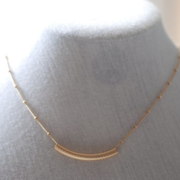 Gold Curved Bar Necklace - 14k Gold Filled Necklace, Gold Tube Necklace, Delicate Dainty Gold Necklace, Minimalist Jewelry