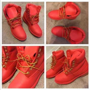 Custom Bright Red Painted Timberland Boots