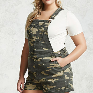 Plus Size Camo Overall Shorts