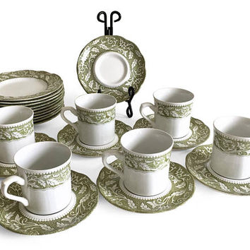 J G Meakin Renaissance English Ironstone Sterling Vintage Ceramic Dinnerware Set / Green Leaf Spring Pattern / Special Occasion Easter