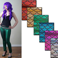 Mermaid metallic sparkle fish scale leggings - smarmyclothes custom pants kawaii