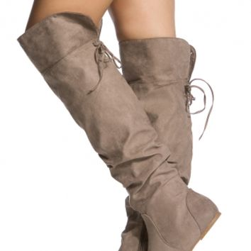 Taupe Faux Suede Knee High Slouch Boots @ Cicihot Boots Catalog:women's winter boots,leather thigh high boots,black platform knee high boots,over the knee boots,Go Go boots,cowgirl boots,gladiator boots,womens dress boots,skirt boots.