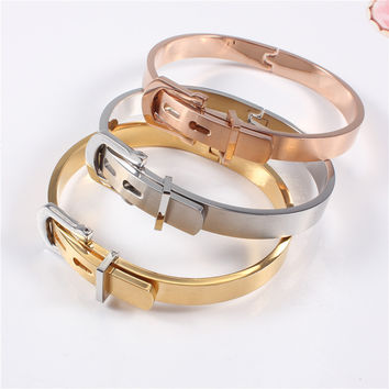 316L Stainless Steel Belt Buckle Bangles&Bracelets Openable Rose/ 18K Gold/Silver Color Women Jewelry Top Quality Factory Price