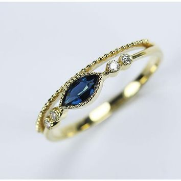Vintage 18K Yellow Gold 0.25 1CT Blue Sapphire Rings For Women Engagement Ring Gemstone Wedding Band