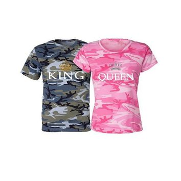 Cool H&R Printed Camouflage KING QUEEN Female T Shirt Couple T Shirt for Lover Men Women Tops Family Matching Clothes 2018 SummerAT_93_12