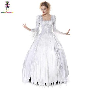 Adult Women Halloween Disguise Dresses Corpse Countess Costume White Ghost Bride Costumes Scary Queen Princess Outfits