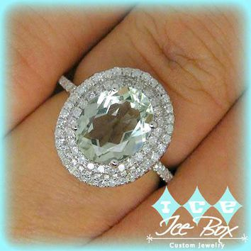 Green Amethyst Engagement Ring 3.5ct Oval Cut Pale Green in a 14k White Gold Diamond Double Halo Split Shank setting