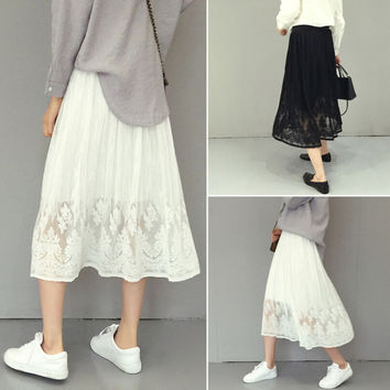 Womens Summer Lace Chiffon Skirt Dress Gift 65
