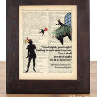 Romeo and Juliet William Shakespeare Verona love dictionary print - on Upcycled Vintage Dictionary page - by NATURA PICTA