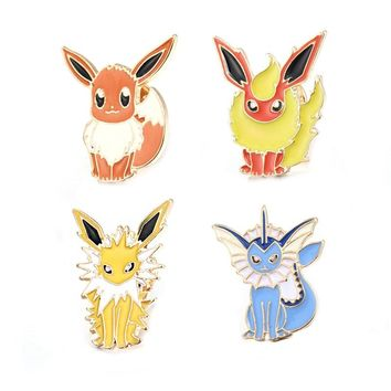 1PC Japan Fashion Pokemon Go Badge Brooch Enamel Cartoon Pocket Monster Eevee Evolution Pins Brooches For Women Collar P1259