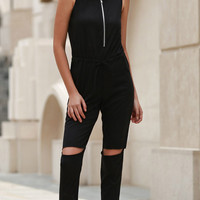 Black Round Neck Sleeveless Drawstring Ripped Jumpsuit