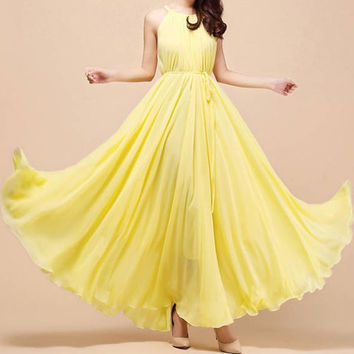 Solid Color Chiffon Boho Maxi Dress