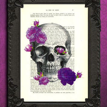 skull print with roses, purple roses dictionary, purple art print mixed media, prints posters, collage mixed media, anatomy poster, book art