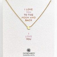 Women's Dogeared 'Reminder - Love You to the Moon' Boxed Moon Pendant Necklace