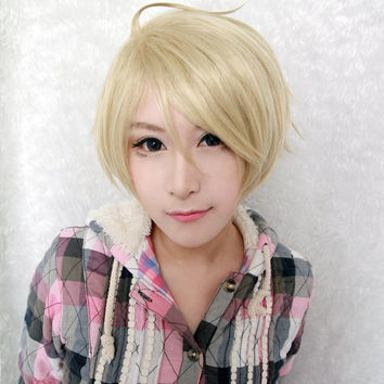 Cosplay anime short Synthetic blonde Cosplay Wigs,Colorful Candy Colored synthetic Hair Extension Hair piece 1pcs WIG-005A