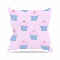 "NL Designs ""Pink Cupcakes"" Blue Blush Throw Pillow"
